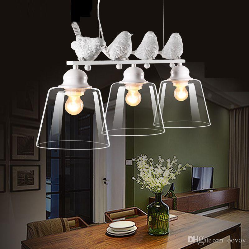 Creative 3 Lights Birds Restaurant Pendant Lamp Nordic Study Room Pendant  Light Bedroom Hanging Lights Chandelier Fixtures Blown Glass Pendant Lights  ...