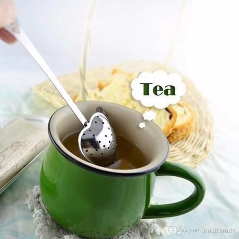 جديد شكل قلب الفولاذ المقاوم للصدأ infuser الشاي ملعقة مصفاة انحدار مقبض دش dhl شحن مجاني