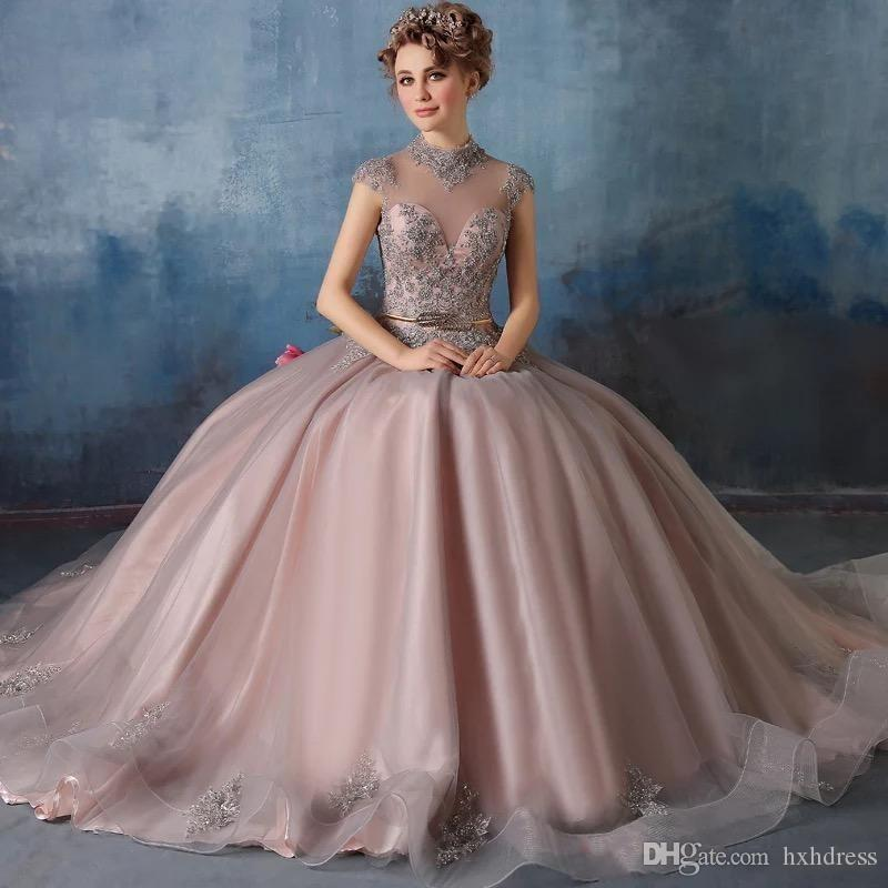2019 Новые платья с высокой горловиной Quinceanera Кружевные аппликации с бальным платьем из кристалла с бисером Сладкие 16 выпускных платьев Vestidos De Quinceanera