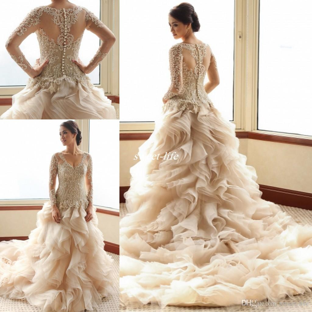 Vintage Long Sleeves Ball Gown Wedding Dresses 2016 Luxury Veluz ...