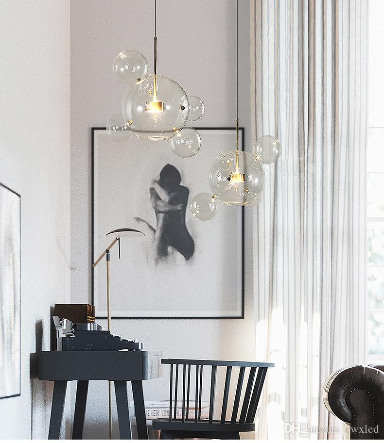 Lighting Basement Washroom Stairs: Nordic Unique Glass Bubble Led Pendant Light Clear Glass