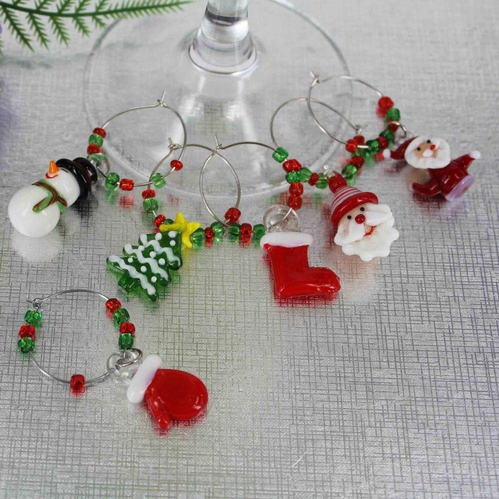 Discount murano glass handmade christmas wine charms