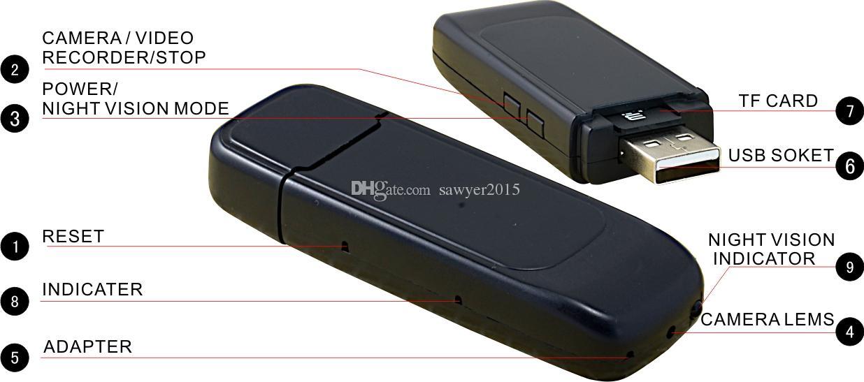 S829 mini USB DISK Camera con Night Vision Motion Detection HD 1280x960 USB Flash Drive Mini DV Supporto fotocamera TF card