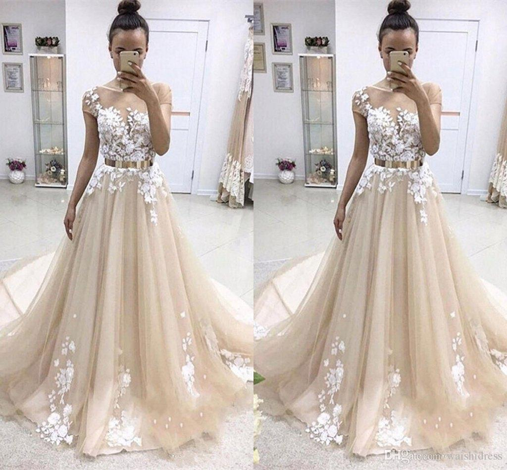 8a32c02b1814 New Fashion Champagne Tulle Aline Prom Dresses White Appliques Lace Evening  Party Dress Sweep Train Cap Sleeve Evening Gowns Inexpensive Plus Size Prom  ...