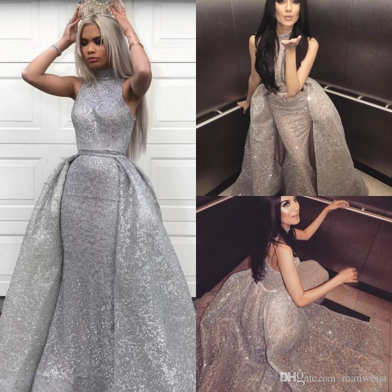 77d6223e361 Sparkly Sequins Blingbling Arabic Overskirts High Neck Mermaid Evening  Dresses Long Sleeves Sexy Beaded Vestidos De Fiesta Prom Gowns Chic Evening  Dresses ...