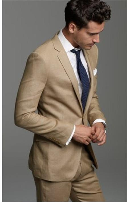 2015 Handsome Tuxedos for Men Beige Wedding Suits for men two Pieces Men Suits Groom Wedding Suits Groomsmen Suits Jacket+Pants