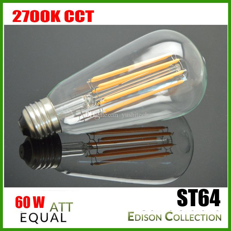 DHL Free E27 110V 220V Edison Long Filaments 6W Vintage LED Lamp ST64 Filament Bulb 2200K - 6 Watt - 60 Watt Equal