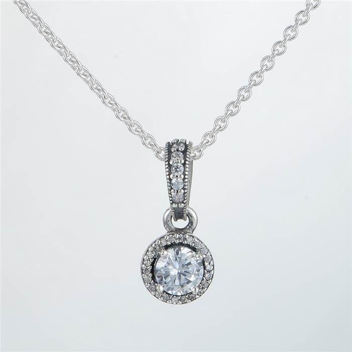 Pendant necklace authentic 925 silver sale fits pandora style charms classic elegance 390379CZ h8