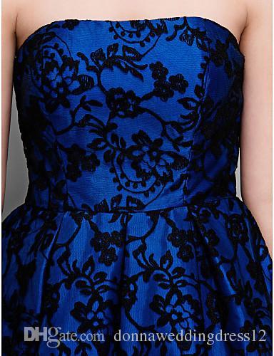 2015 nuova migliore vendita moda abiti da sera formale senza spalline senza maniche chiusura lampo asimmetrico blu royal abiti di pizzo