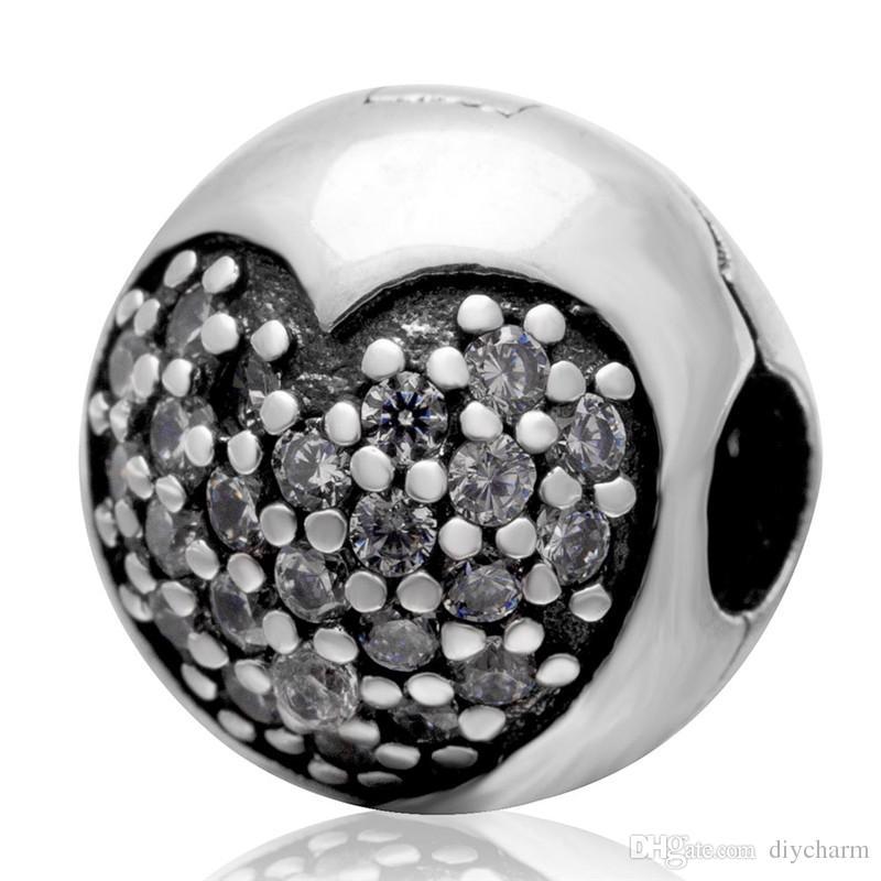 2015 Yeni Otantik 925 gümüş klipsli boncuk ile temizle CZ DIY kadın charms 3 renkler toptan 1 adet / grup pandora için Uyar bilezikler