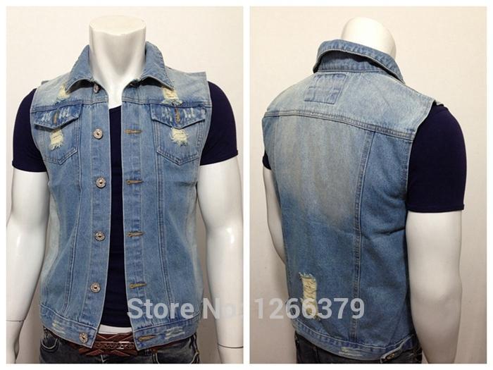 Online Cheap Light Blue Men Jean Vest Classic Vintage Torn ...