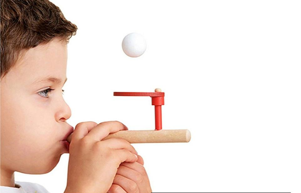 baby wooden puzzle toys kids blowing ball balance training blow ball