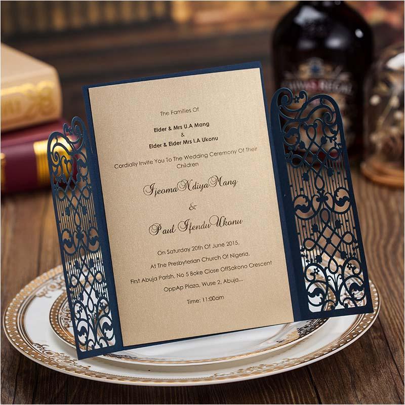 New Korean Laser Cut Wedding Invitations Blue Card Invites