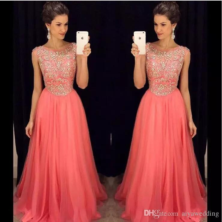 34d7024534e 2019 Luxurious Coral Bridesmaid Dresses Bling Prom Dresses A Line Scoop  With Beading And Rhinestones Zipper Back Long Dresses Evening Wear Girls  Prom ...