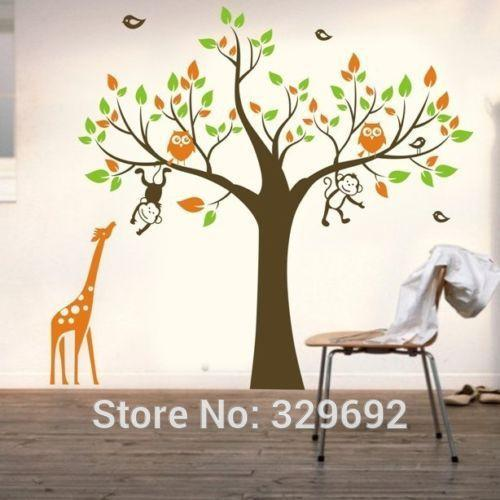 Oversize Removable Owl Tree Monkey Giraffe Tree Branches 1.8m Diy Wall  Decals Vinyls Baby Wall Stickers Wall Art For Kids Rooms Monkey Wall Decals  Monkey ... Part 83