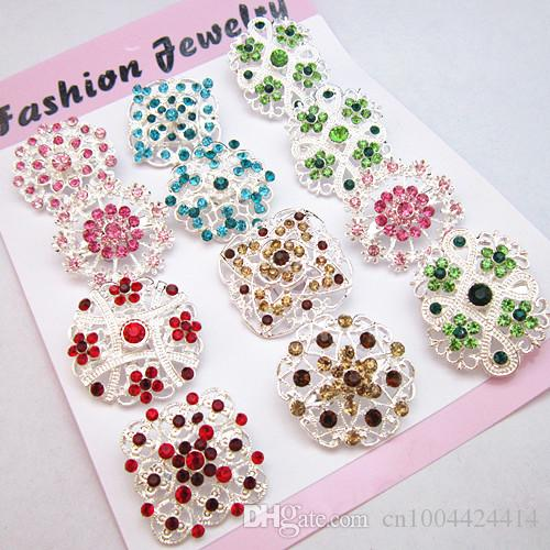 Mixed Flower Multicolor Crystals Wedding Decoration Brooch Pin Hot Selling Silver And Gold Color Party Broaches Vintage Style Pins