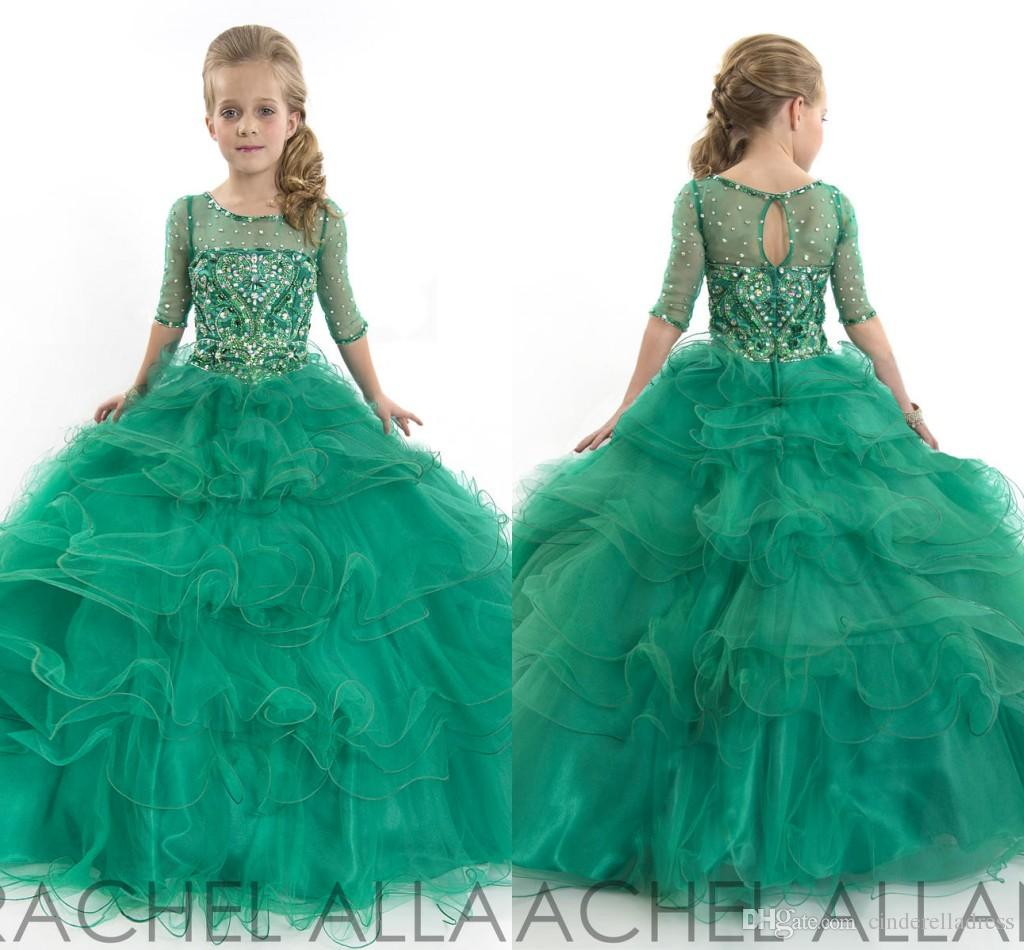 Green RACHEL ALLAN Ball Gown Little Girl Pageant Dresses Sheer Jewel ...