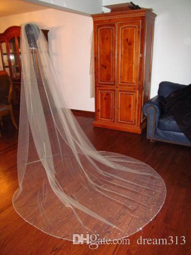 새로운 고품질 한 레이어 아이보리 화이트 라인 석 모서리 웨딩 베일 대성당 합금 빗 Meidingqianna 브랜드