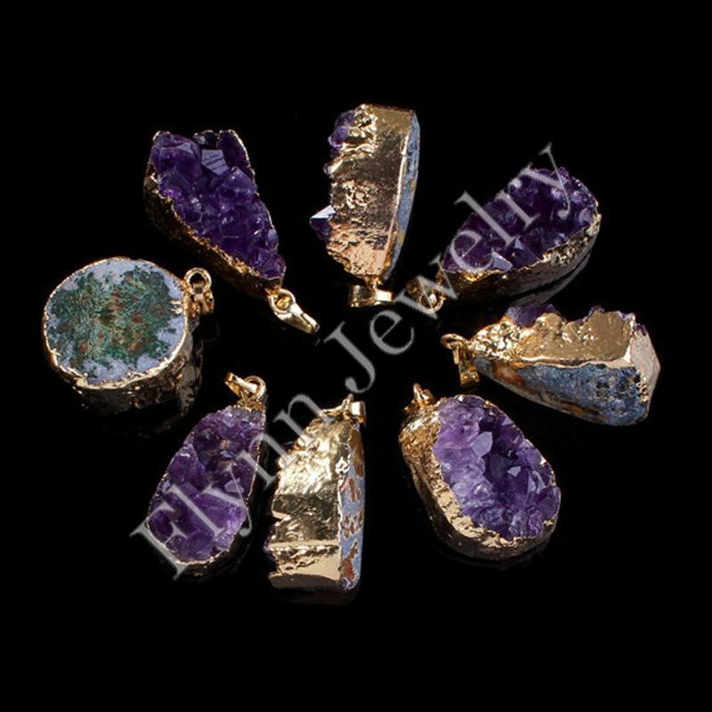 2016 Diferente Geométrica Ametista Druzy Geode Fatia Banhado A Ouro Duplo Gancho Pingente Conector Super Positivo Amuleto de Energia Jóias
