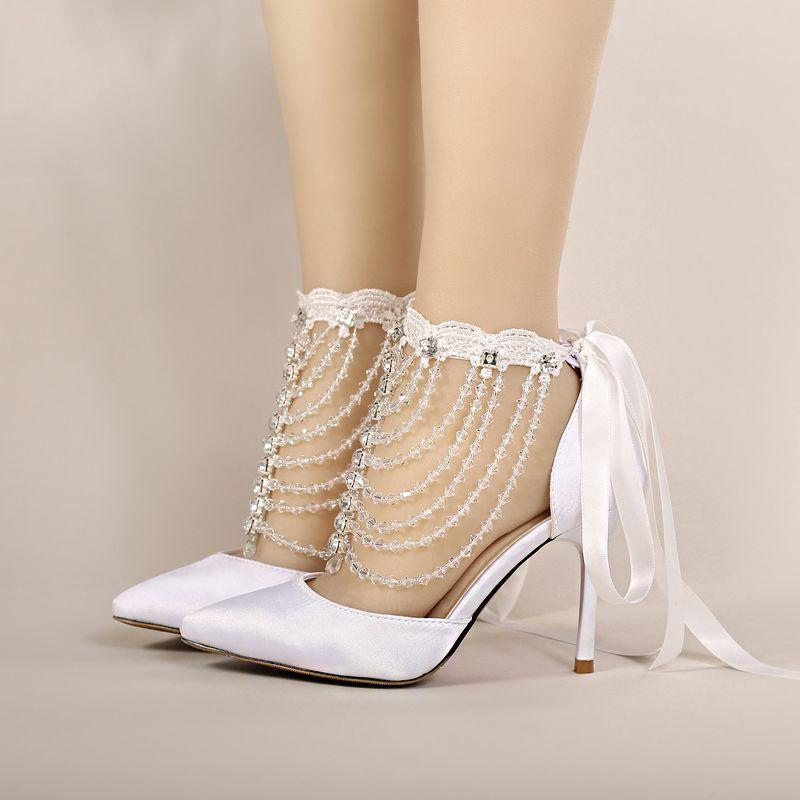 26d1e5183 Calçados Bottero Verão De Salto Alto Sapatos De Noiva Branco Cetim De  Cristal Pulseira Sandálias Mulheres Banquete Sapatos De Casamento Dedo  Apontado Feito ...