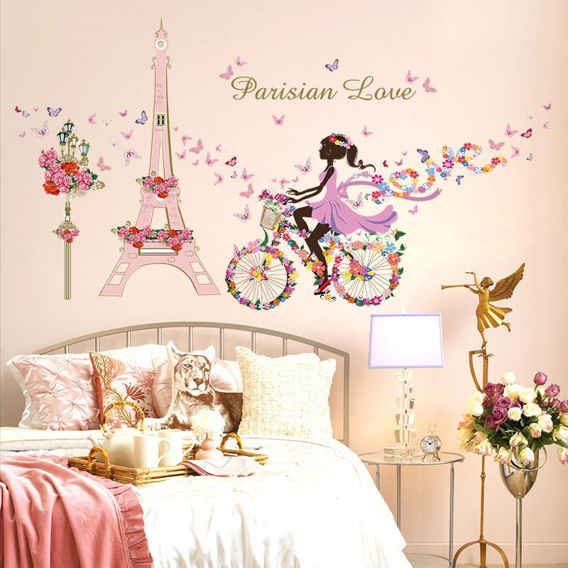 Wholesale- Romantico Paris Wall Sticker per bambini Camere Eiffel Tower Flower Butterfly Fata Girl Riding Wall Art Decal Home Decor murale