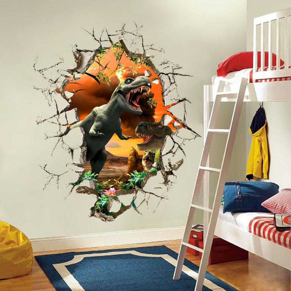 Cartoon 3D Dinosaur Wall Sticker For Boys Room Child Art Decor Decals ZY1461 Stickers Kids Online With