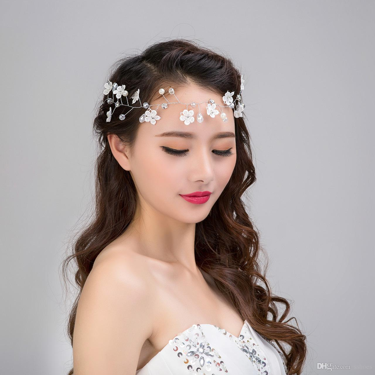 103d770fa Fashion Handmade Lace Flower Pearl Headbands Bride Pearl Hair Bands Women  Wedding Party Jewelry Bridesmaid Hair Accessories Bridal Hair Clips Bridal  Hair ...