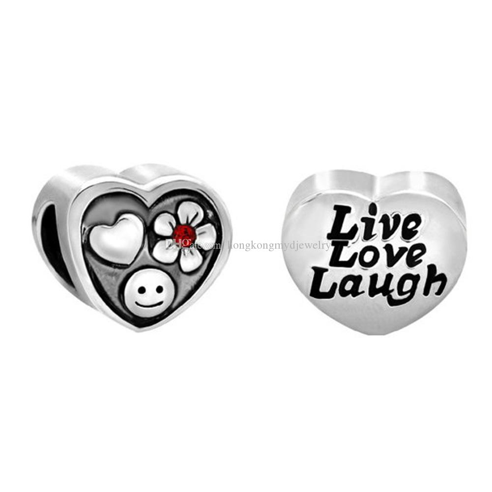 Rhodium plating metal slide live love laugh Heart Flower Smile European Bead Fit Pandora Chamilia Biagi Charm Bracelet