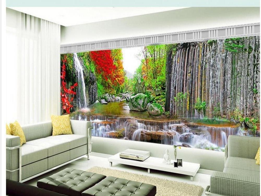 Custom photo wallpaper Large 3D sofa TV background wallpaper mural wall Mountain stream waterfall 3d mural wallpaper 201516111