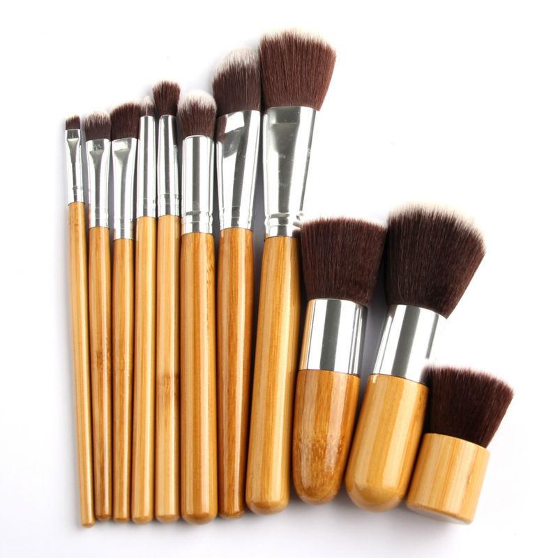 High Quality Kabuki Makeup Brushes Kit Pro Bamboo Makeup Brush Set Eye Shadow Cosmetic Foundation Blusher Soft With Bag Free DHL