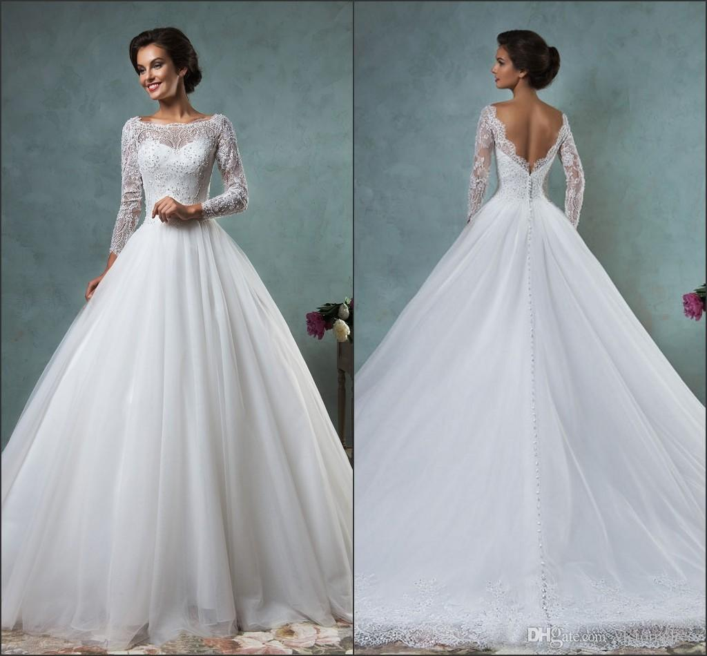 Sheer Bateau Neck With Long Sleeve Jessica Wedding Dresses Ball ...