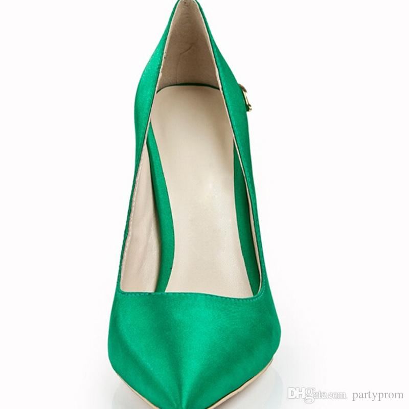 Green Pointed Toe Women Pumps Satin 120mm High Heel Prom Wedding Party Shoes Evening Dress Shoes Fashion Cobra Heels