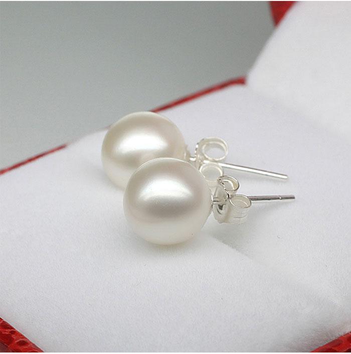 Nuovi orecchini 6mm / 8mm / 10mm degli orecchini della perla dei monili 925 orecchini dell'argento sterlina colore beige della festa nuziale Trasporto libero