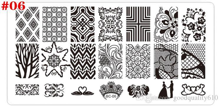 Novo Retângulo de Aço Inoxidável Manicure Template Nail Art Impressão Polonês Selo Imagem Placa de Rendas Padrão