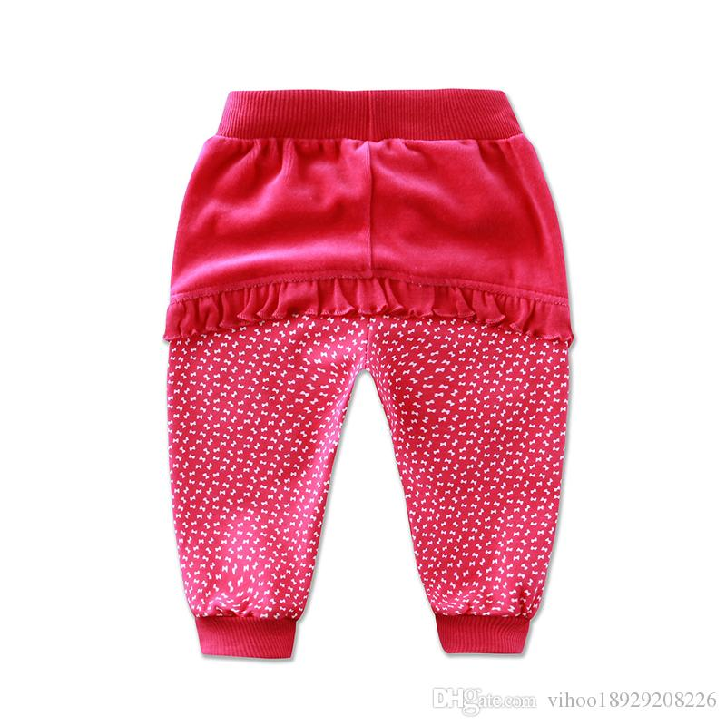 2018 Little Q baby girl velvet long pants summer spring children's clothing british style lace patchwork beads trousers clothes