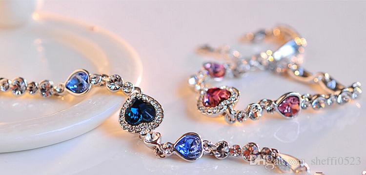 Crystal Heart Bracelets The Color Of Gold Plating Jewelry South Korean Charm Bracelets For Wedding Jewelry BN-00152