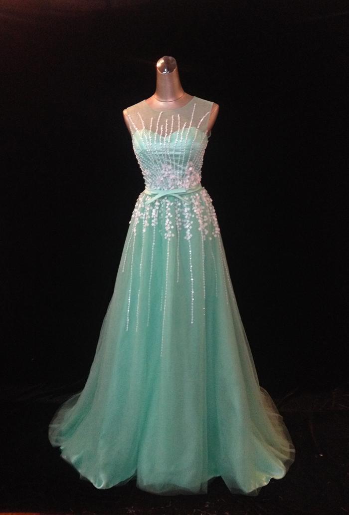 Longo Tule Macio Com Lantejoulas Prom Vestido 2016 Até O Chão O Pescoço Vestido de Baile Vestidos De Formatura