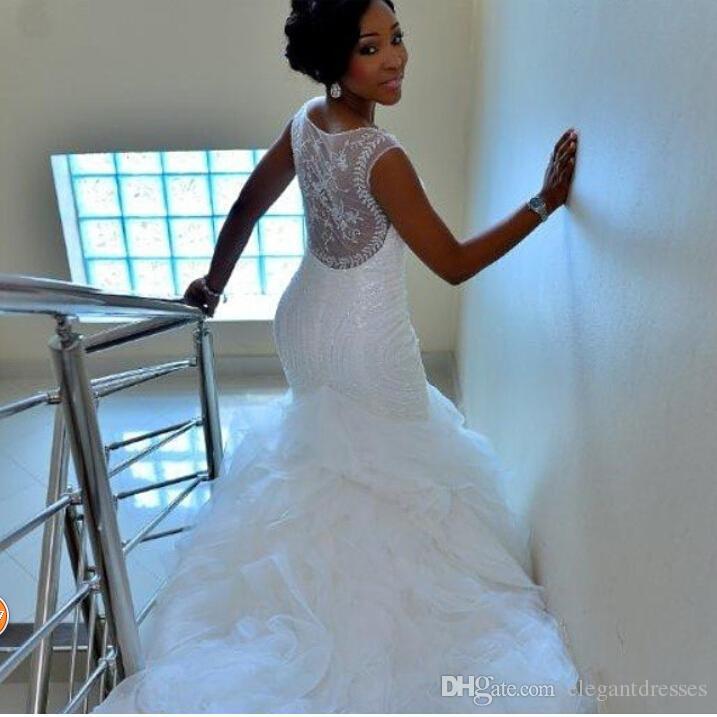 Bescheidene Meerjungfrau-Brautkleid-Organza sehen durch Brautkleider 2021 Kapelle Zug Rüschen billig Brautkleider
