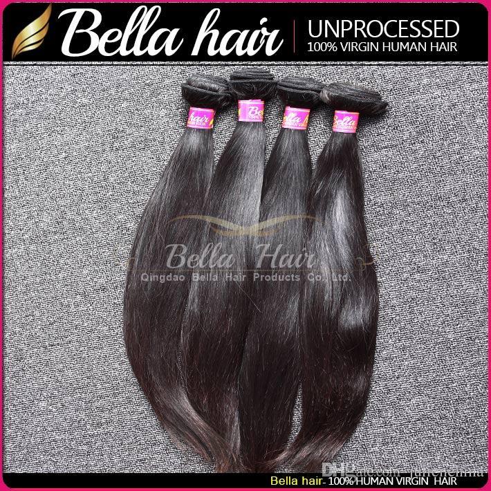 اللون الطبيعي الهندي ملحقات الشعر 9A 4 قطعة / الوحدة كامل الرأس مستقيم الإنسان الشعر التمديد شحن مجاني بيلا الشعر