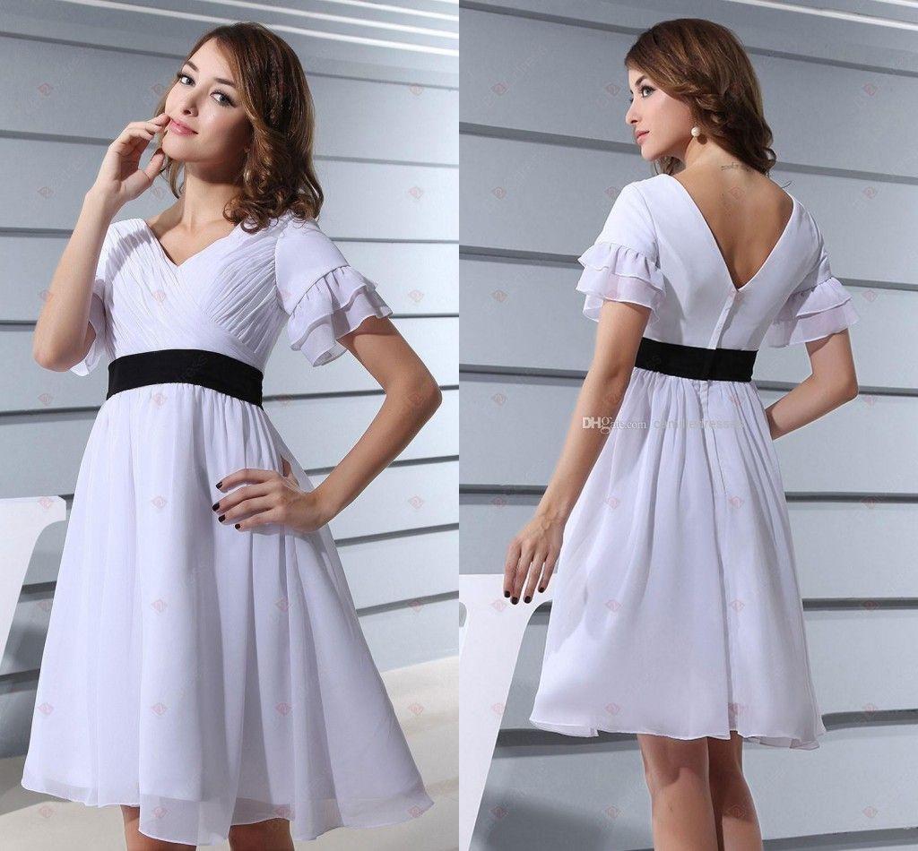 2015 Cheap Chiffon Junior Bridesmaids Dresses Under 50 V Neck Sexy ...