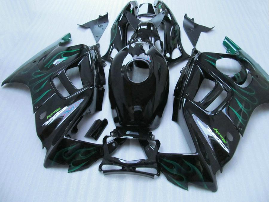 in forma completa HONDA F3 carenature CBR600 1997 1998 CBR 600 97 98 fiamme verdi in carenatura nera body kit QY66