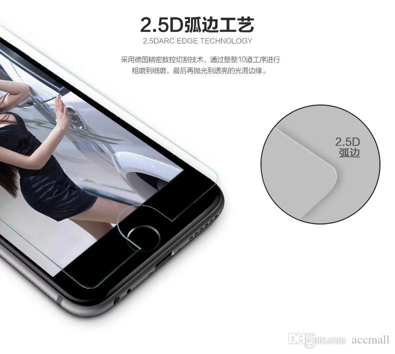 0.26mm Temperli Cam Sert Film Ekran Koruyucu Anti-Scratch iphone 4 4 S 5 5 S Perakende Paketi ile 6 Artı 4.7 5.5 inç kutu En kaliteli