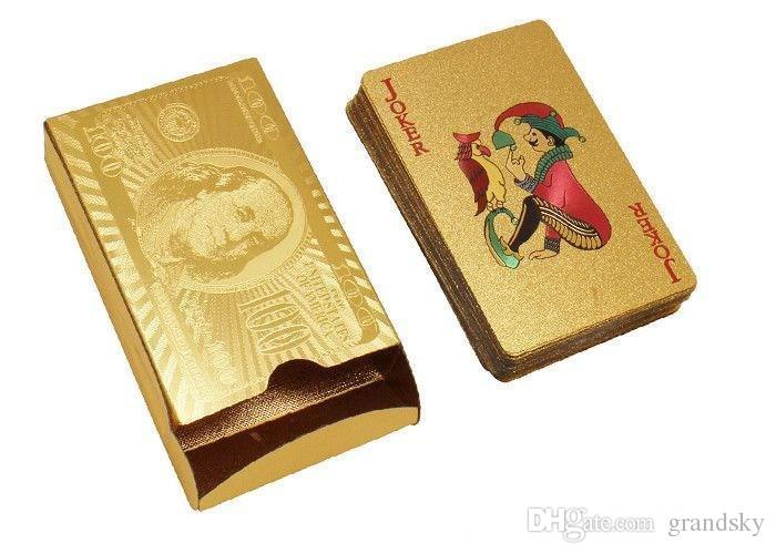 2015 Hot Sale New 24k Gold Foil Plated Poker Playing Cards ...