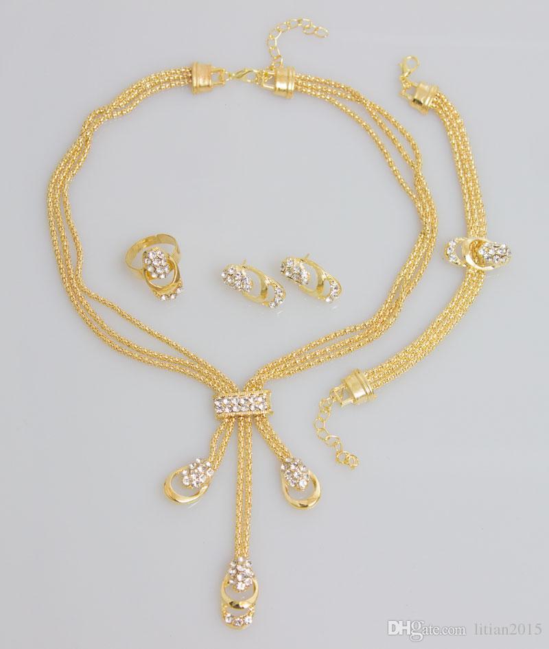 Nueva llegada de la manera chapado en oro perlas collar collar pendientes pulsera anillos finos establece el traje del partido para las mujeres