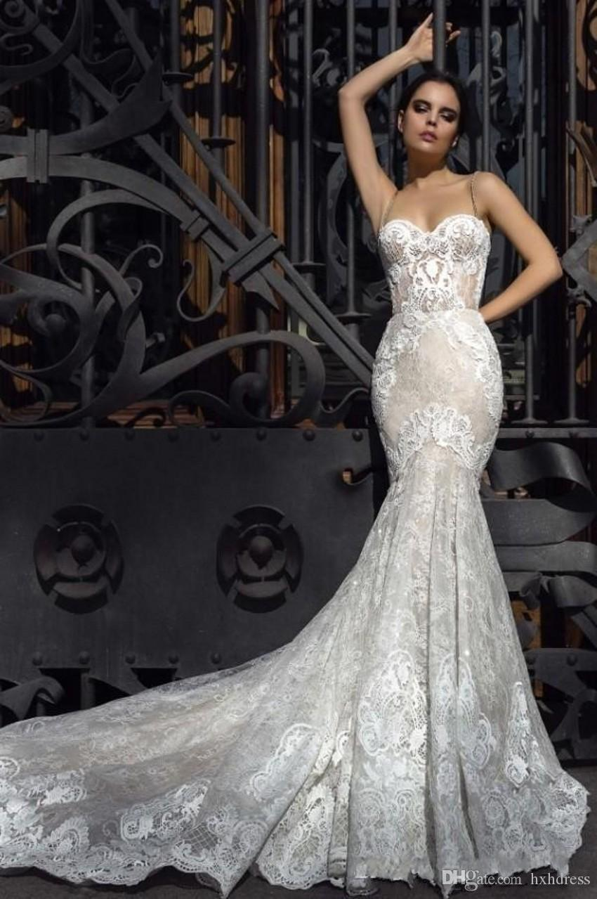 2019 Kristall Design Meerjungfrau Brautkleider Schatz Gepaßte Spitze Appliques Robe De Soiree Arabisch Sexy Brautkleider mit Gericht Zug 380