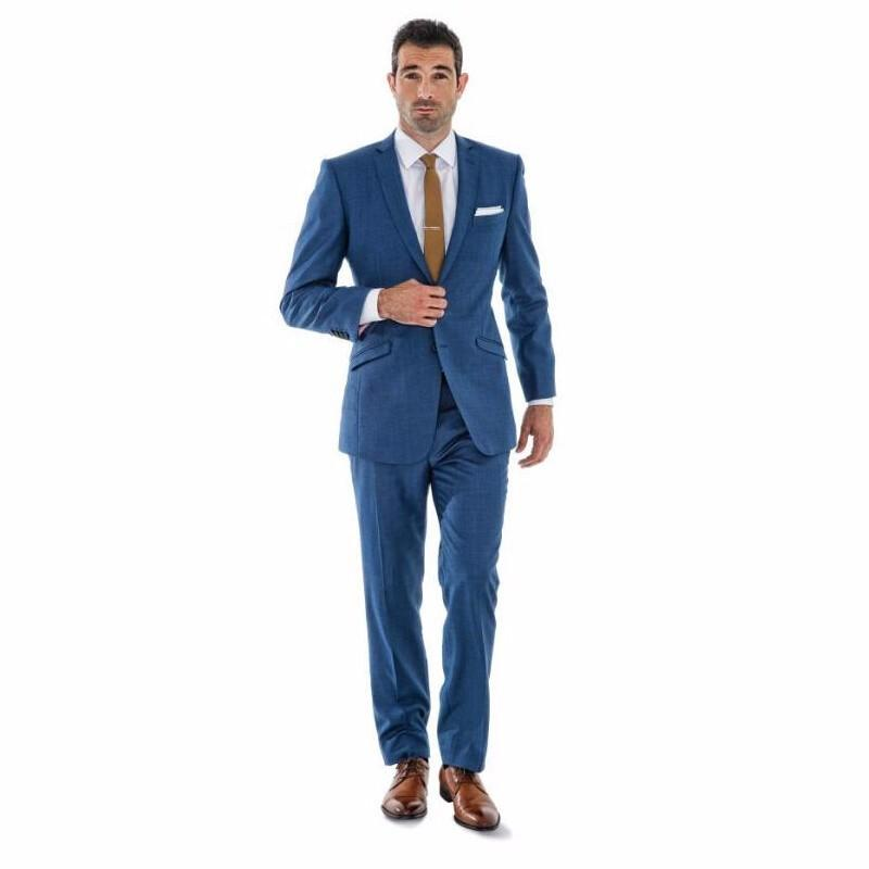 Two Buttons Blue Groom Tuxedos Dinner Jacket Notched Lapel Men'S ...