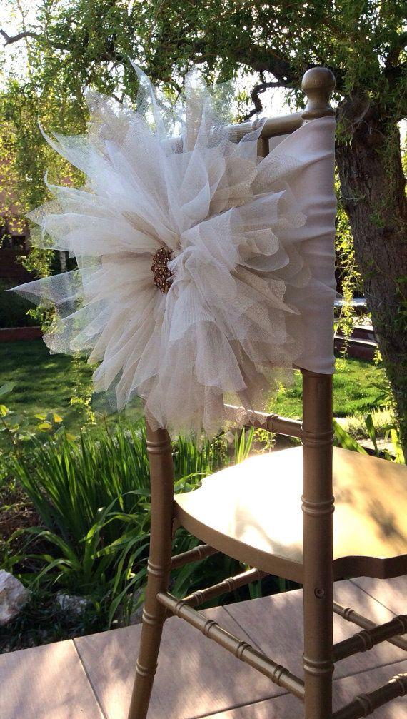 2015 Big Flowers Crystal Beads Romantic Hand Made Tulle Ruffles Chair Sash Chair Covers Wedding Decorations Wedding Accessories