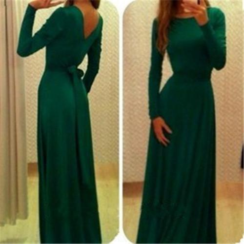 Long sleeve evening dresses maxi