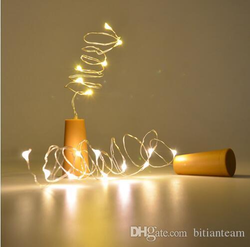 Chaude 1M 10LED 2M 20LED Lampe En Liège Bouchon En Forme De Bouchon De Verre La Lumière De Verre Vin LED Fils De Cuivre Ficelle De Lumières Pour Le Mariage De Fête De Noël