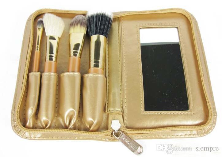 2015 new 4 gold makeup brush set make-up tools with mirror free ship DHL